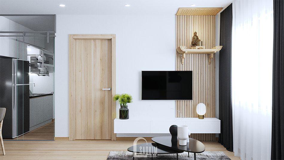 Mẫu thiết kế phòng khách căn hộ nhỏ 60m2 chung cư HH02 khu đô thị Dương Nội