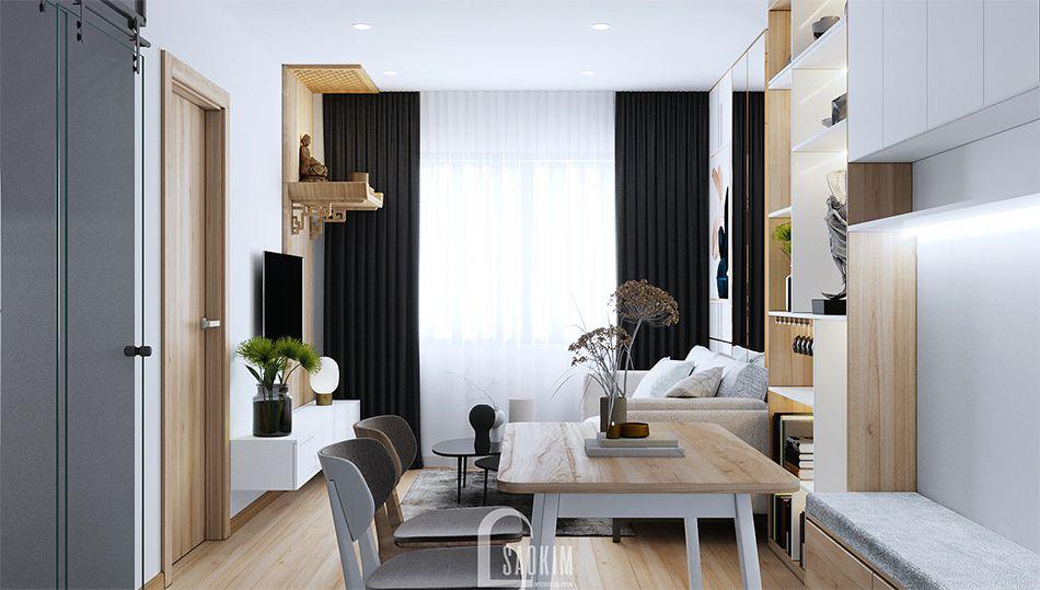 Mẫu phòng ăn trong thiết kế căn hộ nhỏ 60m2 chung cư HH02 khu đô thị Dương Nội