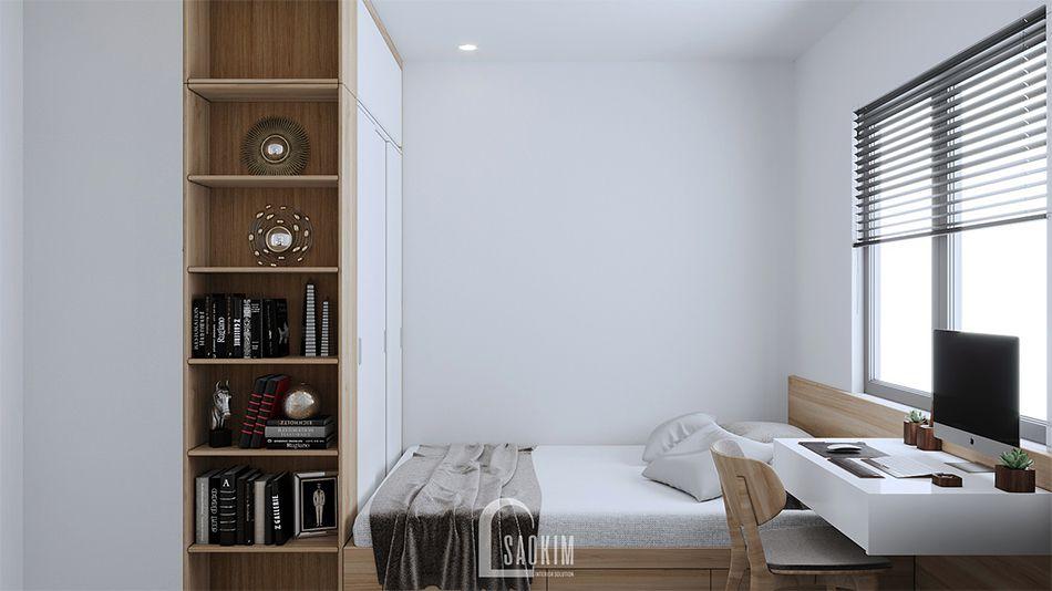 Không gian phòng ngủ 2 trong mẫu thiết kế căn hộ nhỏ 60m2 chung cư HH02 khu đô thị Dương Nội