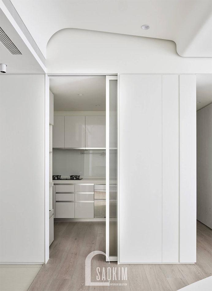 Mẫu thiết kế phòng bếp chung cư Vinhomes Green Bay 45m2 phong cách tối giản