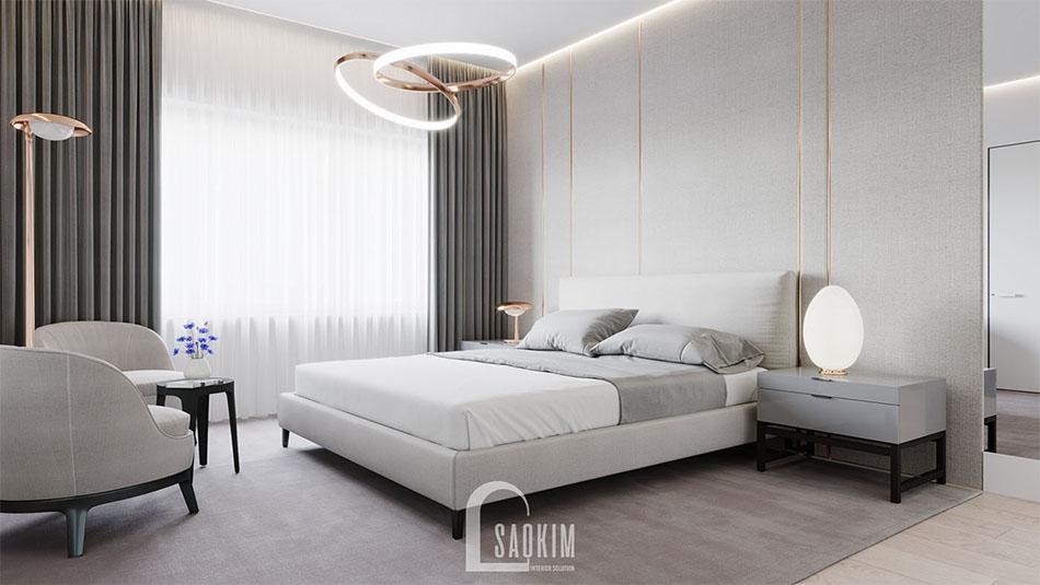 Mẫu thiết kế phòng ngủ chung cư Vinhomes Green Bay 45m2 phong cách tối giản
