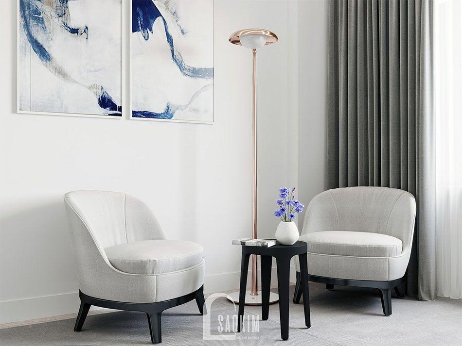 Góc thư giãn nhỏ trong không gian phòng ngủ mang đậm phong cách tối giản