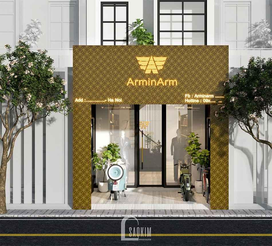 Mặt tiền mẫu thiết kế shop thời trang nam Armi Arm cao cấp
