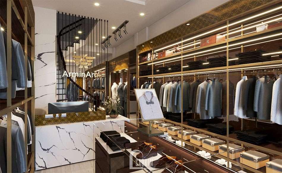 Khu vực quầy lễ tân trong mẫu thiết kế shop thời trang nam cao cấp Armi Arm