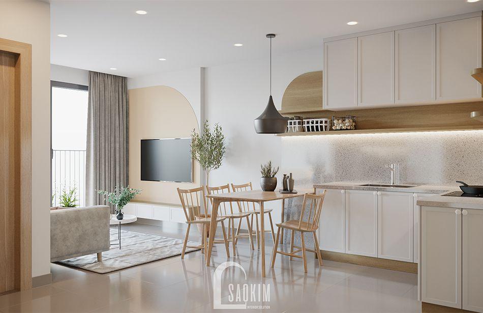 Mẫu thiết kế căn hộ 1 phòng ngủ + 1 chung cư Vinhomes Smart City với không gian phòng ăn và bếp rộng thoáng