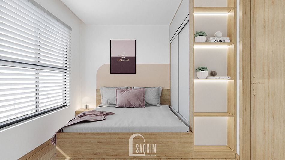 Không gian phòng ngủ 1 căn hộ 67m2 chung cư Vinhomes Smart City