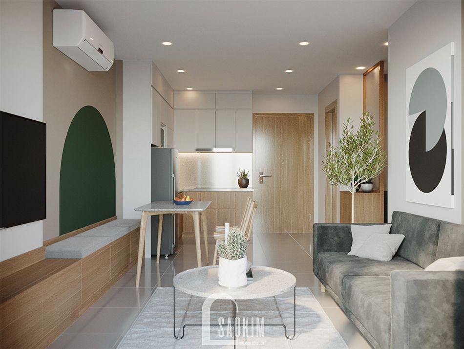 Không gian mở căn hộ Vinhomes Ocean Park mang thiết kế phong cách Color Block