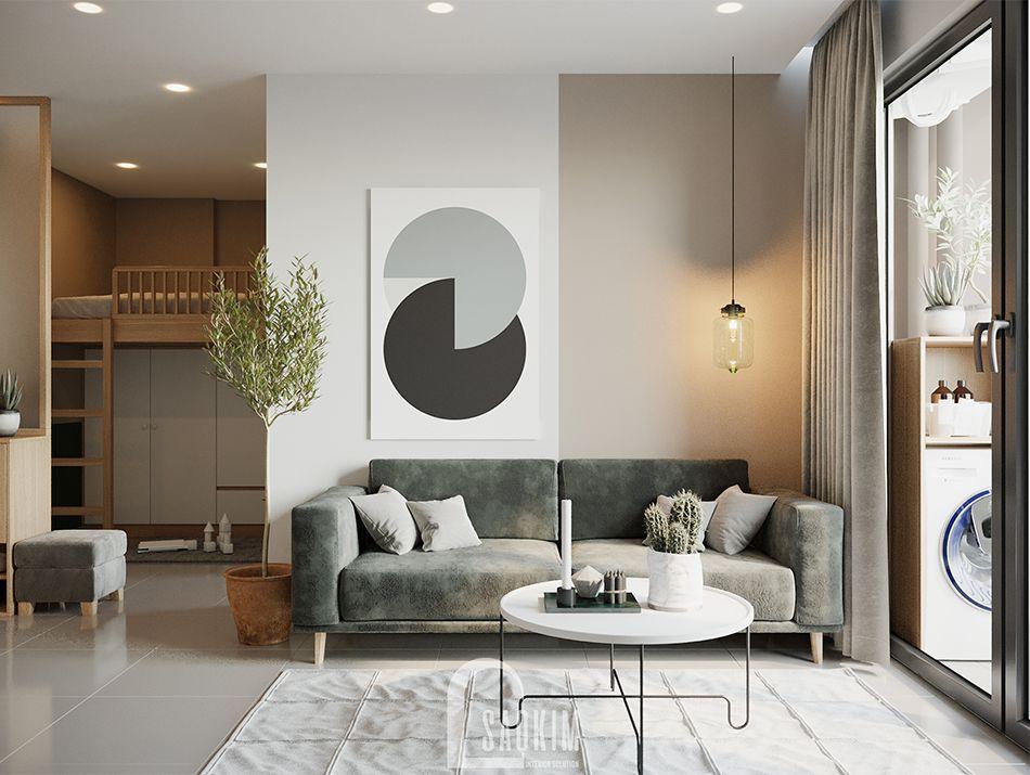 Không gian phòng khách căn hộ Vinhomes Ocean Part mang thiết kế phong cách Color Block