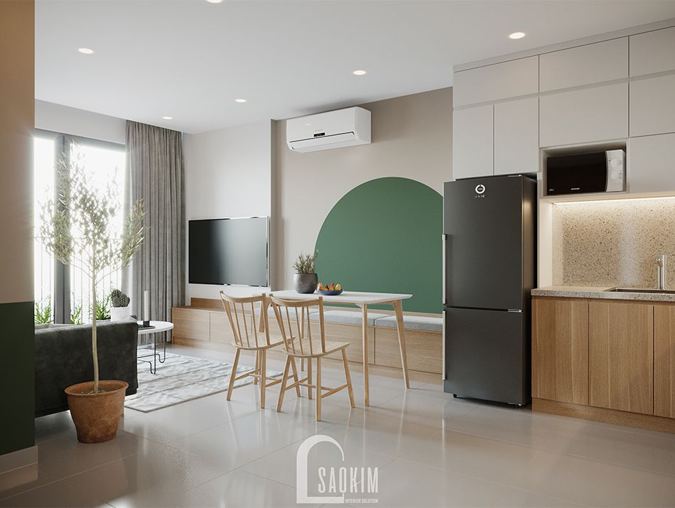 Không gian phòng ăn căn hộ Vinhomes Ocean Park mang đậm phong cách Color Block