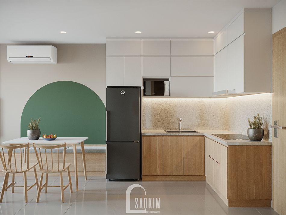 Không gian phòng bếp căn hộ Vinhomes Ocean Park mang thiết kế phong cách Color Block