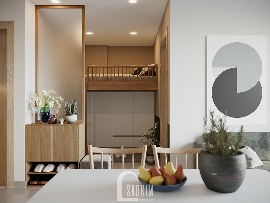 Không gian phòng đa năng căn hộ Vinhomes Ocean Park mang phong cách Color Block