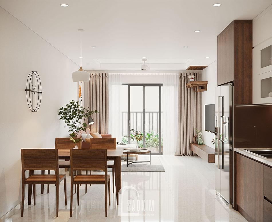 Không gian mở trong mẫu thiết kế căn hộ đẹp 87m2 chung cư PCC1 Thanh Xuân