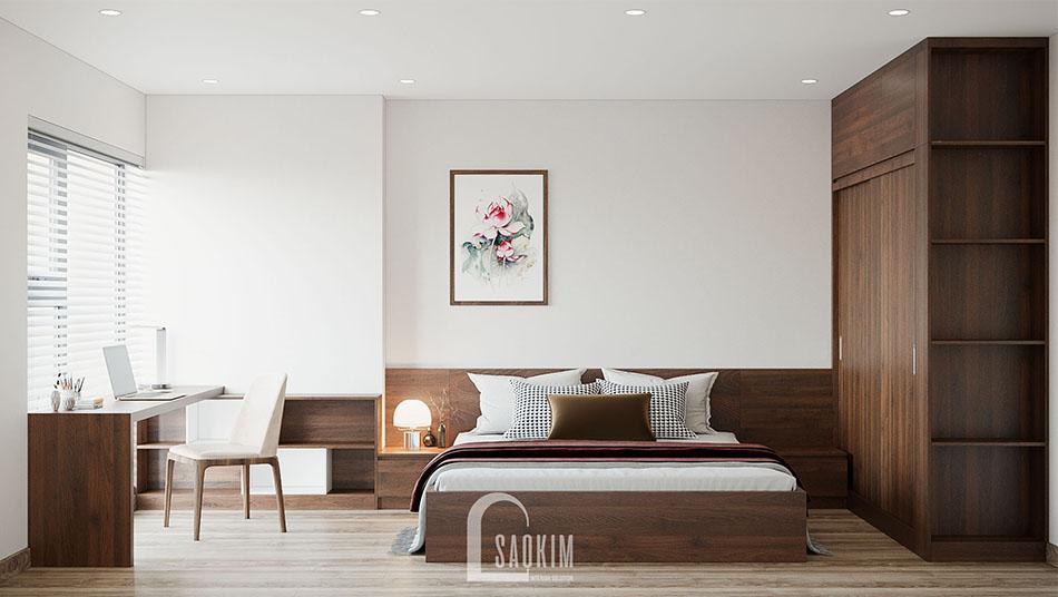 Mẫu thiết kế căn hộ đẹp 87m2 PCC1 Thanh Xuân với phòng ngủ thanh lịch, bình yên