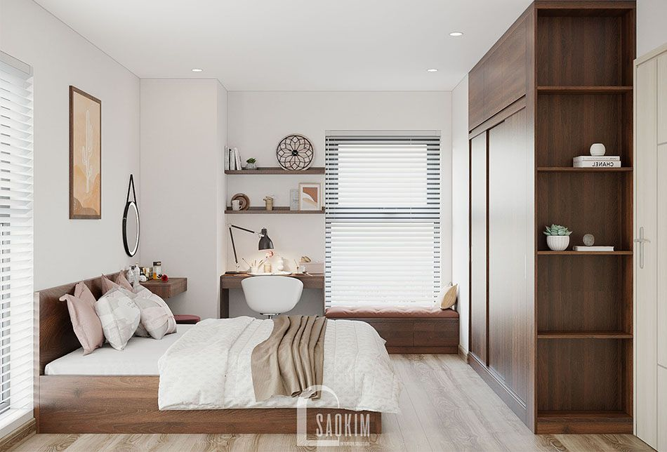 Không gian phòng ngủ rộng thoáng, thư giãn