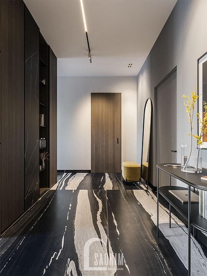 Mẫu thiết kế tiền sảnh chung cư 2 phòng ngủ 113m2 Yên Hoà Sunshine