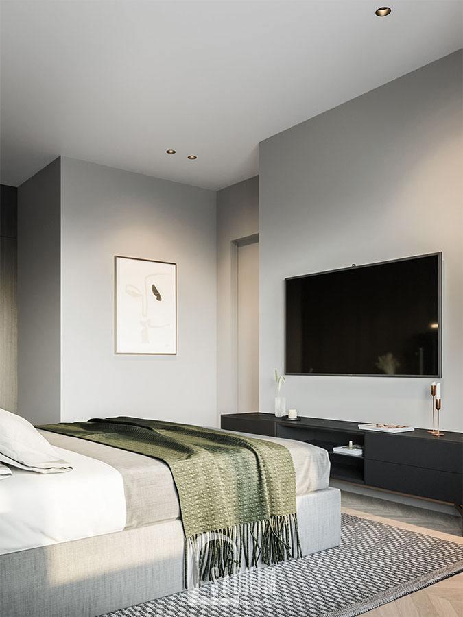 Không gian phòng ngủ mang lại cảm giác thoải mái, bình yên cho gia chủ