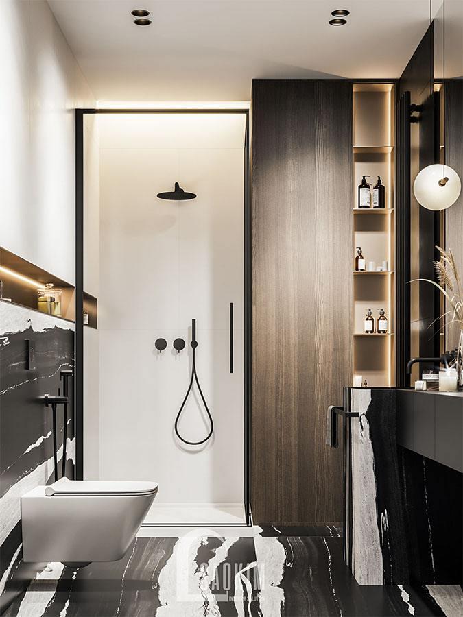 Mẫu phòng tắm trong thiết kế chung cư 2 phòng ngủ 113m2 Yên Hoà Sunshine
