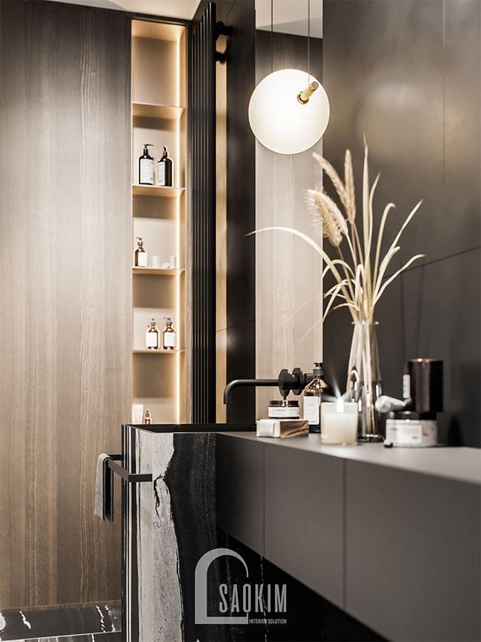 Mẫu thiết kế phòng tắm chung cư 2 phòng ngủ 113m2 Yên Hoà Sunshine