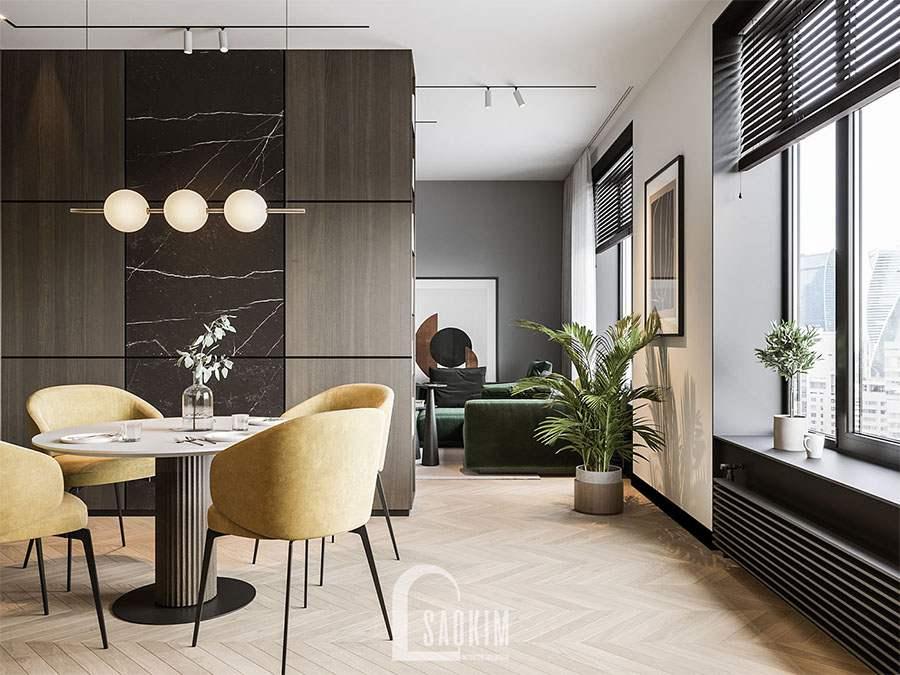 Mẫu thiết kế phòng ăn và bếp chung cư 2 phòng ngủ 113m2 Yên Hoà Sunshine