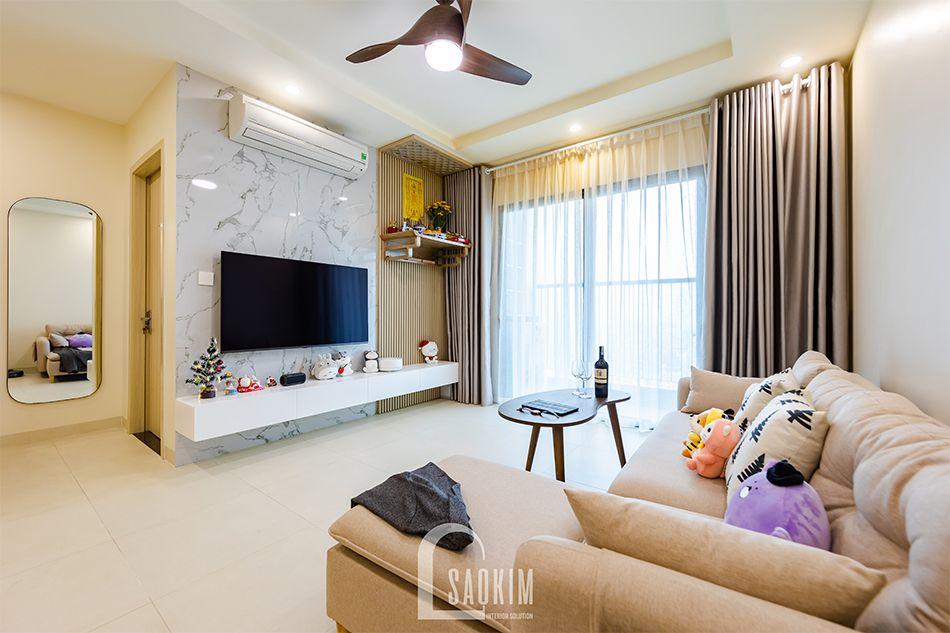 Hoàn thiện nội thất phòng khách nhà chung cư đẹp 80m2 PCC1 Thanh Xuân