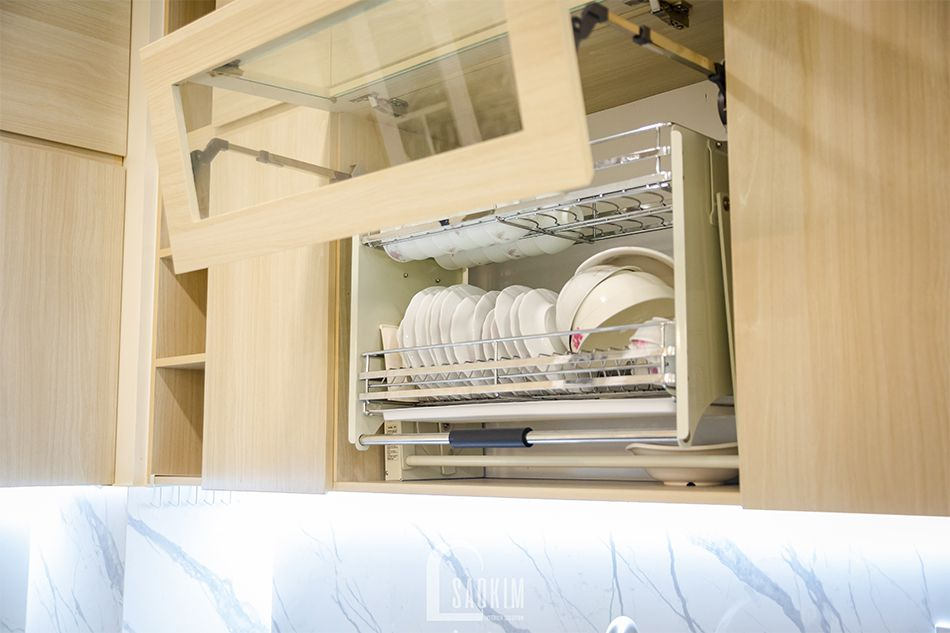 Hoàn thiện nội thất phòng bếp trong mẫu thiết kế nhà chung cư đẹp 80m2 PCC1 Thanh Xuân