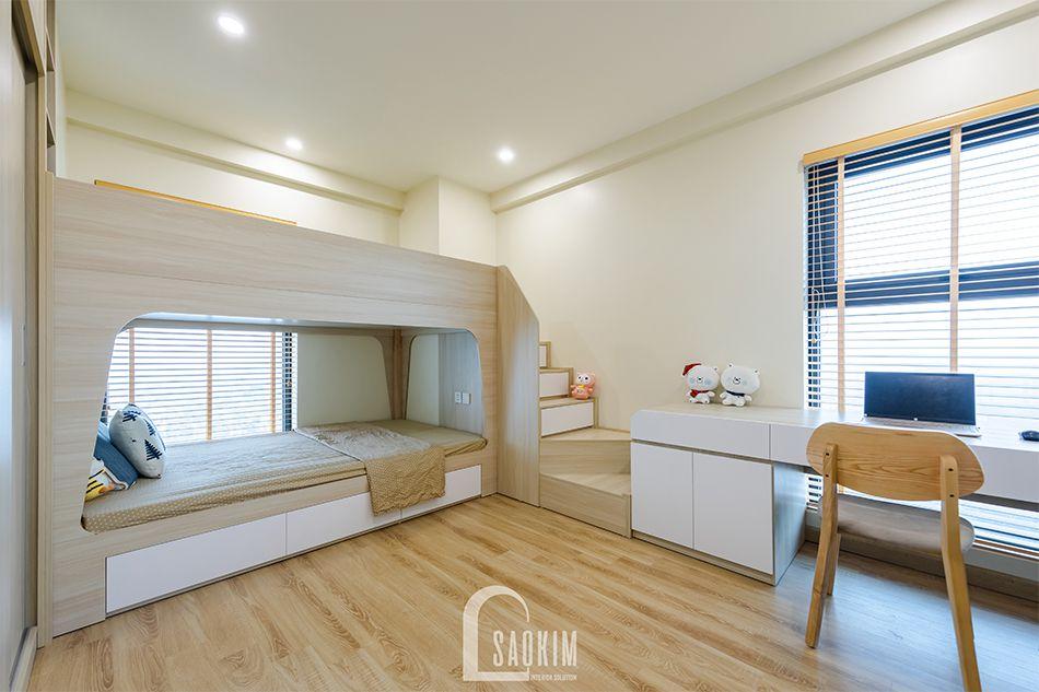 Hoàn thiện nội thất phòng ngủ cho bé trong mẫu thiết kế nhà chung cư đẹp 80m2