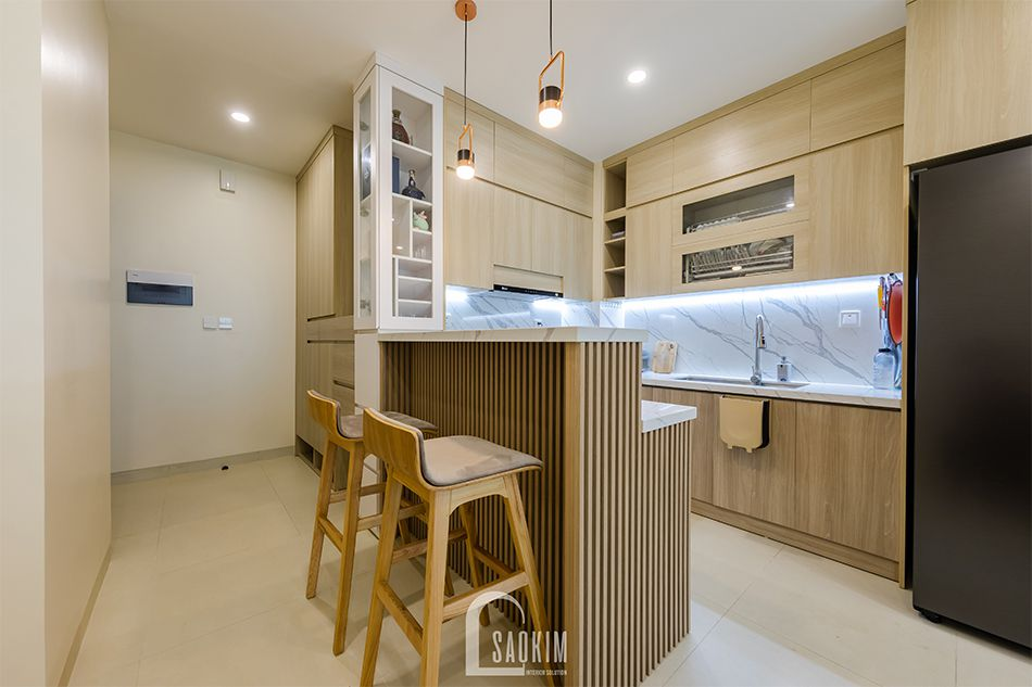 Hoàn thiện nội thất phòng bếp nhà chung cư đẹp 80m2 PCC1 Thanh Xuân