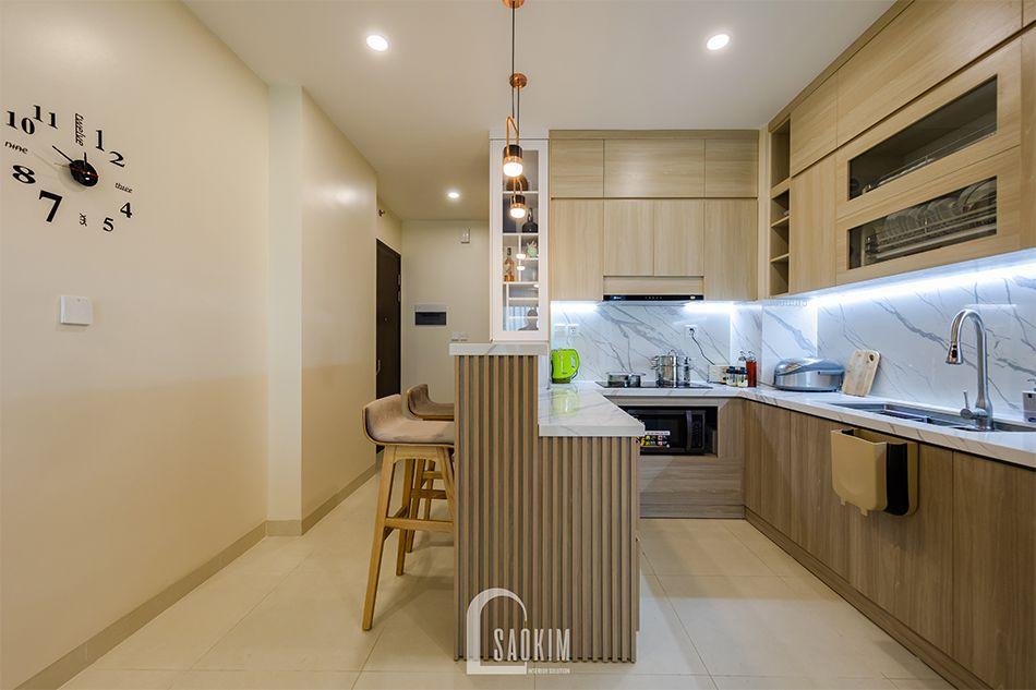 Căn bếp nhà chung cư đẹp 80m2 PCC1 Thanh Xuân mang cảm giác sạch sẽ, tươi mới