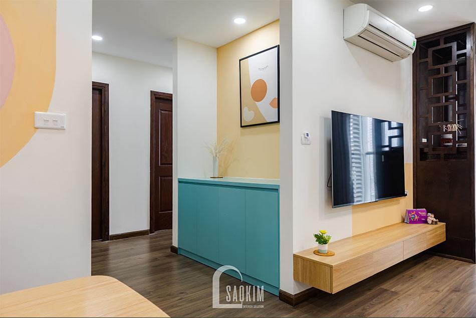 Hoàn thiện không gian hành lang trong mẫu thi công căn hộ khu đô thị Nam Trung Yên
