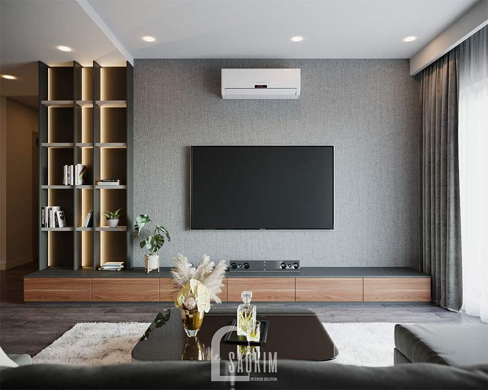 Không gian phòng khách căn hộ HPC Landmark sang trọng, hiện đại