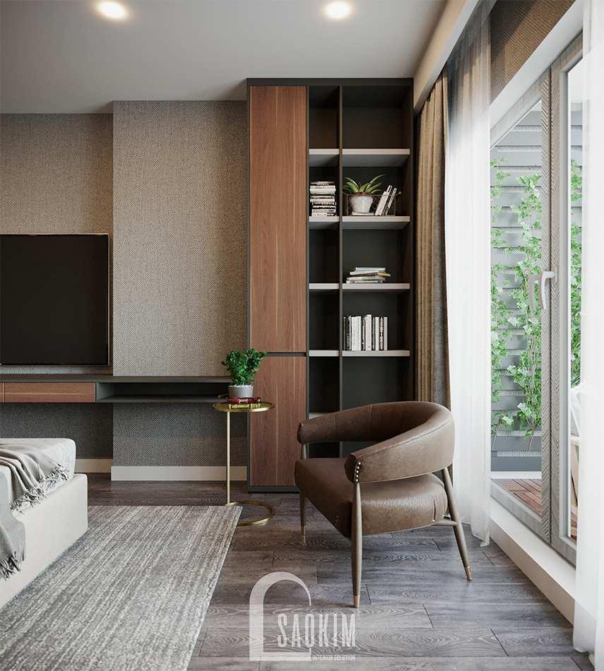 Không gian phòng ngủ 1 với góc nhỏ ban công xanh mát, tràn đầy sức sống