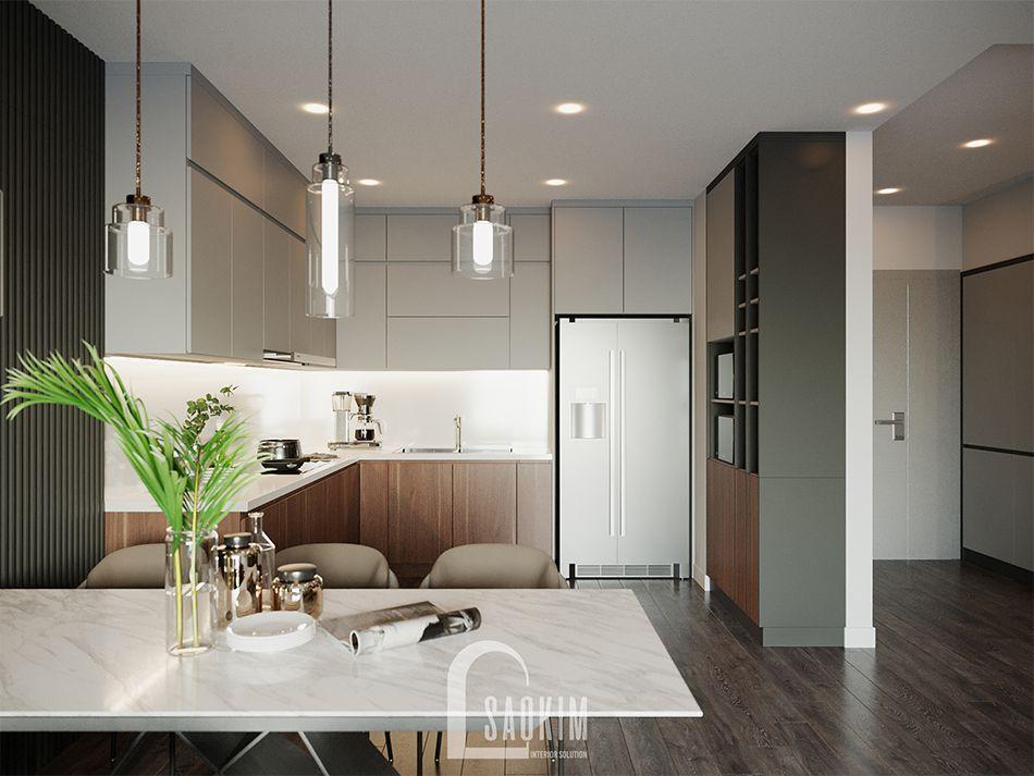 Mẫu thiết kế căn hộ 3 phòng ngủ HPC Landmark 105 Tố Hữu với phòng bếp sạch sẽ, thoáng mát