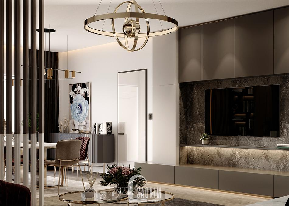 Mẫu thiết kế căn hộ 62m2 Tòa tháp Thiên Niên Kỷ với phòng khách sang trọng, hiện đại