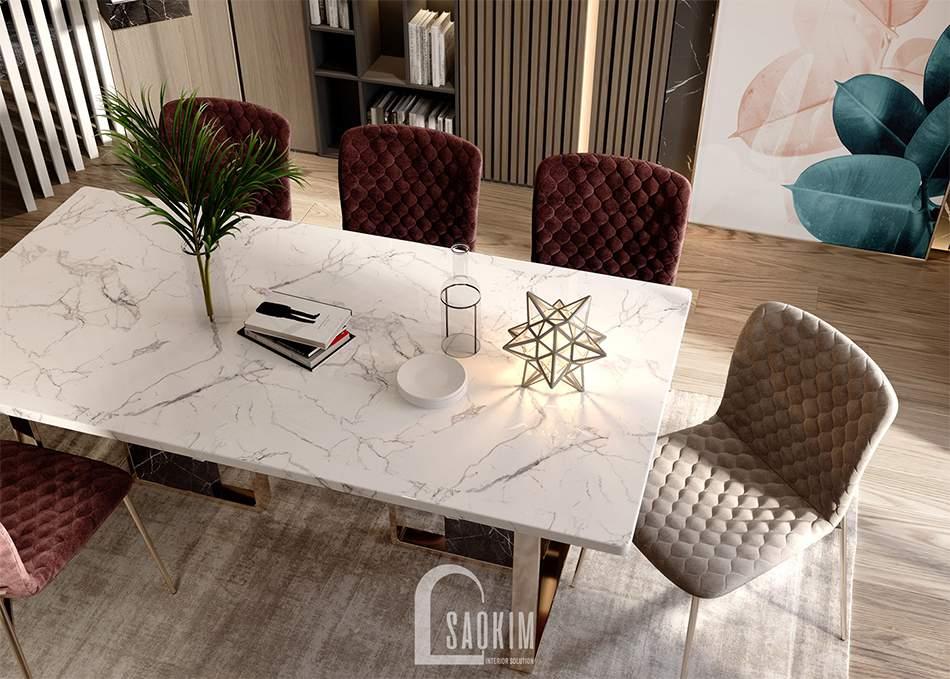 Mẫu thiết kế phòng ăn căn hộ 62m2 Tòa tháp Thiên Niên Kỷ