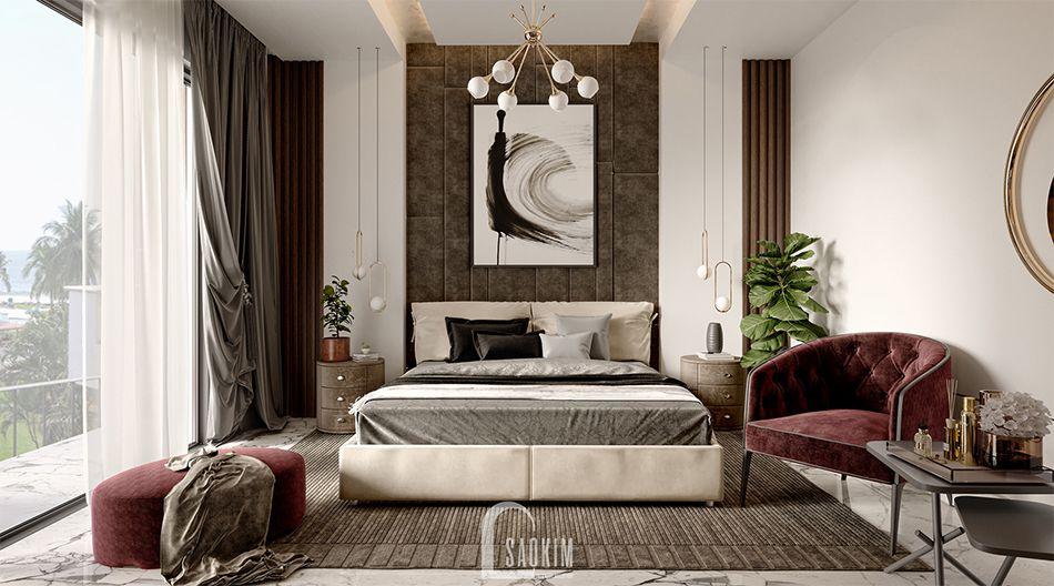 Mẫu thiết kế căn hộ 62m2 Tòa tháp Thiên Niên Kỷ với phòng ngủ sang trọng, thanh lịch