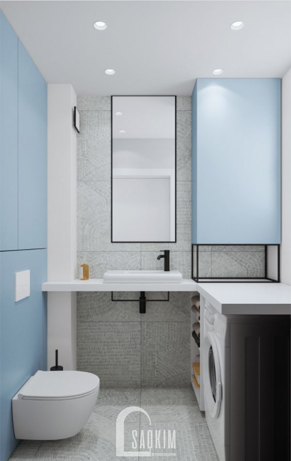 Mẫu thiết kế phòng tắm 2 căn hộ 71m2 Tòa tháp Thiên Niên Kỷ