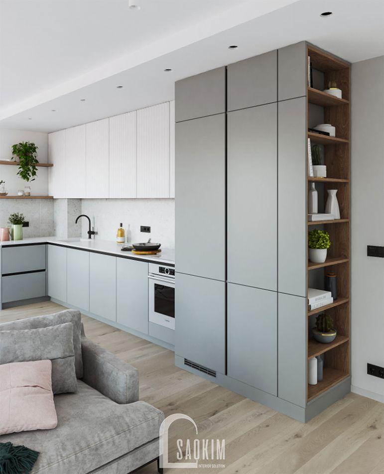 Căn bếp tối giản hiện đại trong mẫu thiết kế căn hộ 71m2 Tòa tháp Thiên Niên Kỷ
