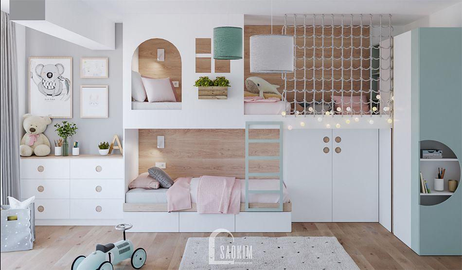 Phòng ngủ cho bé trong mẫu thiết kế căn hộ 71m2 Tòa tháp Thiên Niên Kỷ