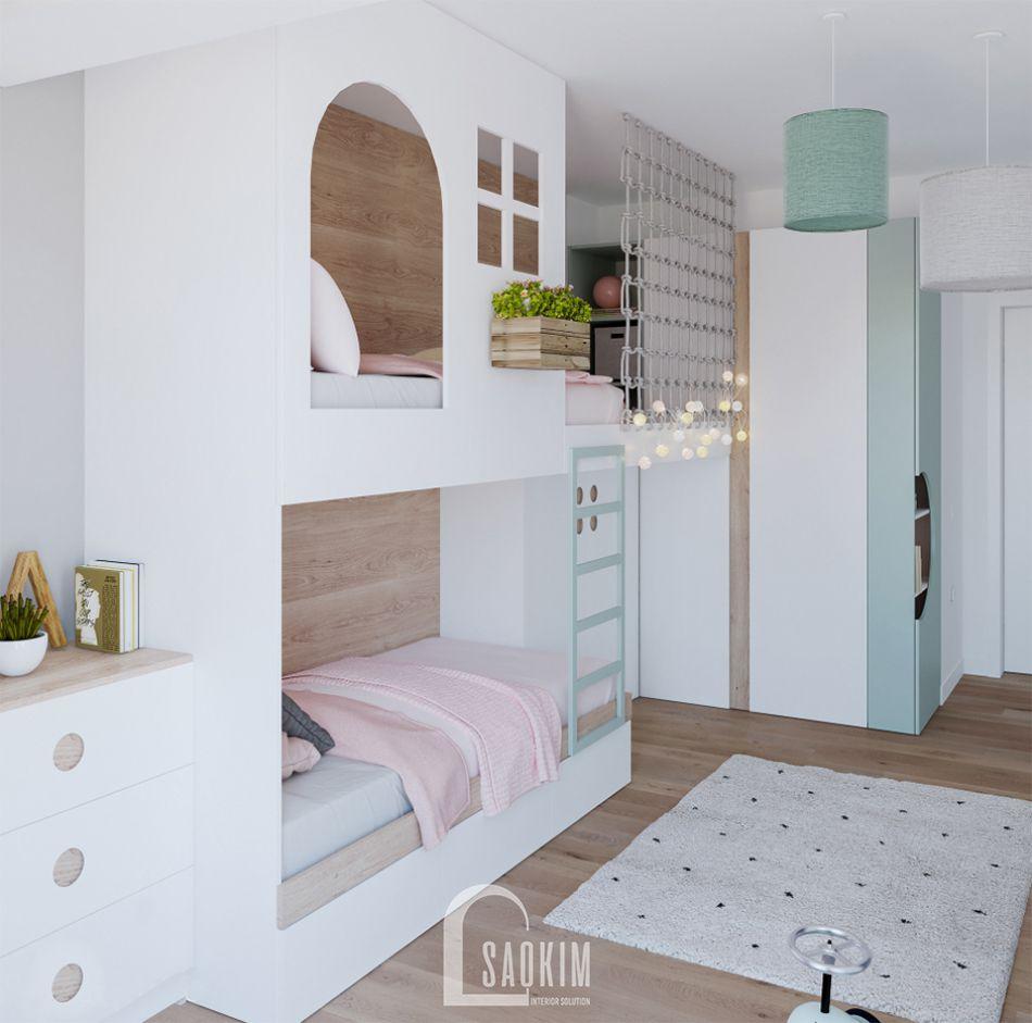 Mẫu thiết kế căn hộ 71m2 với không gian phòng ngủ cho bé tươi mới, thoáng mát