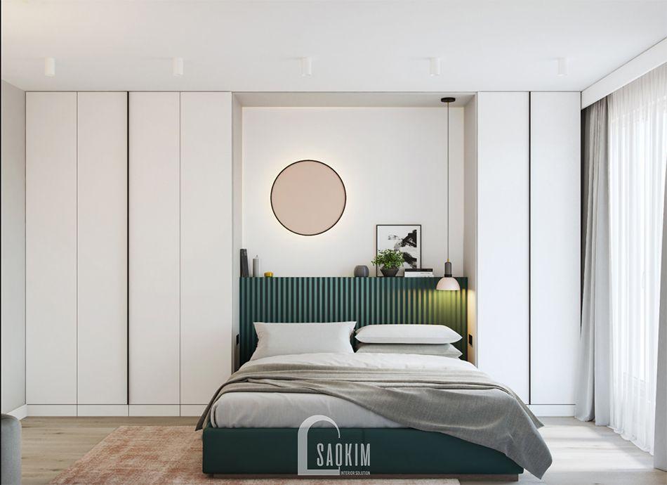 Phòng ngủ Master trong mẫu thiết kế căn hộ 71m2 Tòa tháp Thiên Niên Kỷ