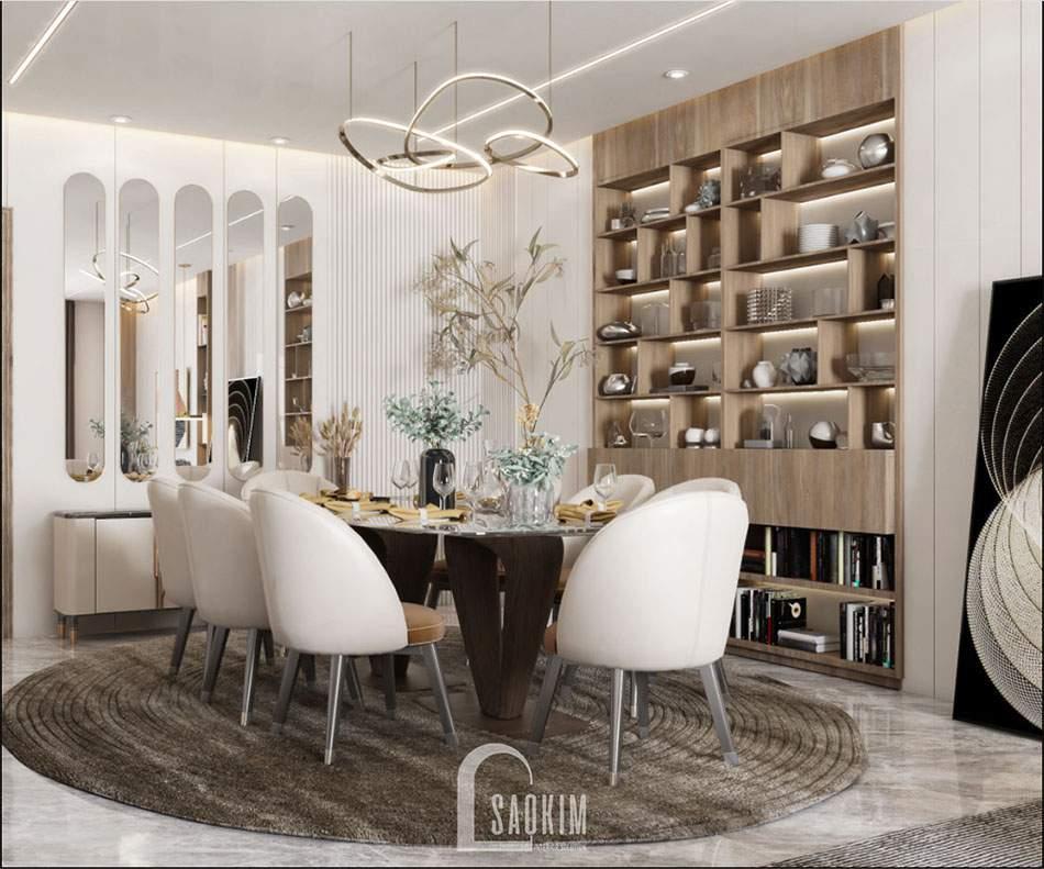 Mẫu thiết kế căn hộ 84m2 2 phòng ngủ chung cư The Zei với phòng ăn sang trọng