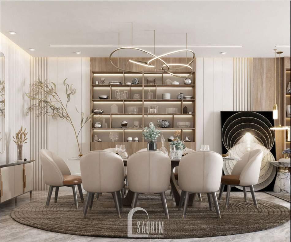 Mẫu thiết kế phòng ăn căn hộ 84m2 2 phòng ngủ chung cư The Zei