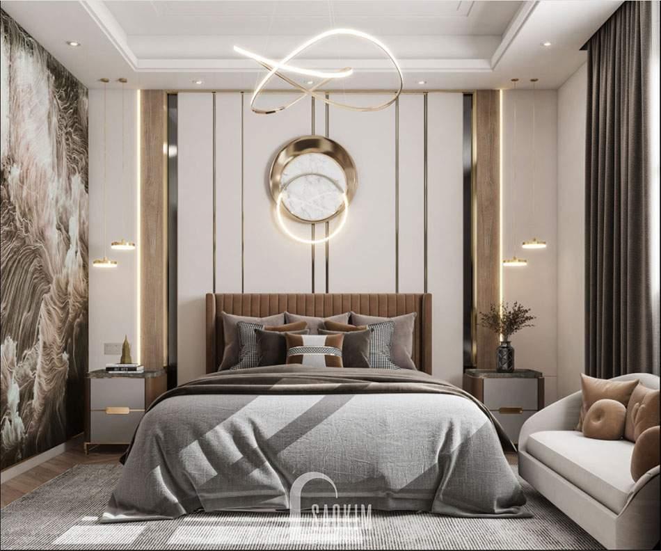 Mẫu thiết kế phòng ngủ Master căn hộ 84m2 chung cư The Zei