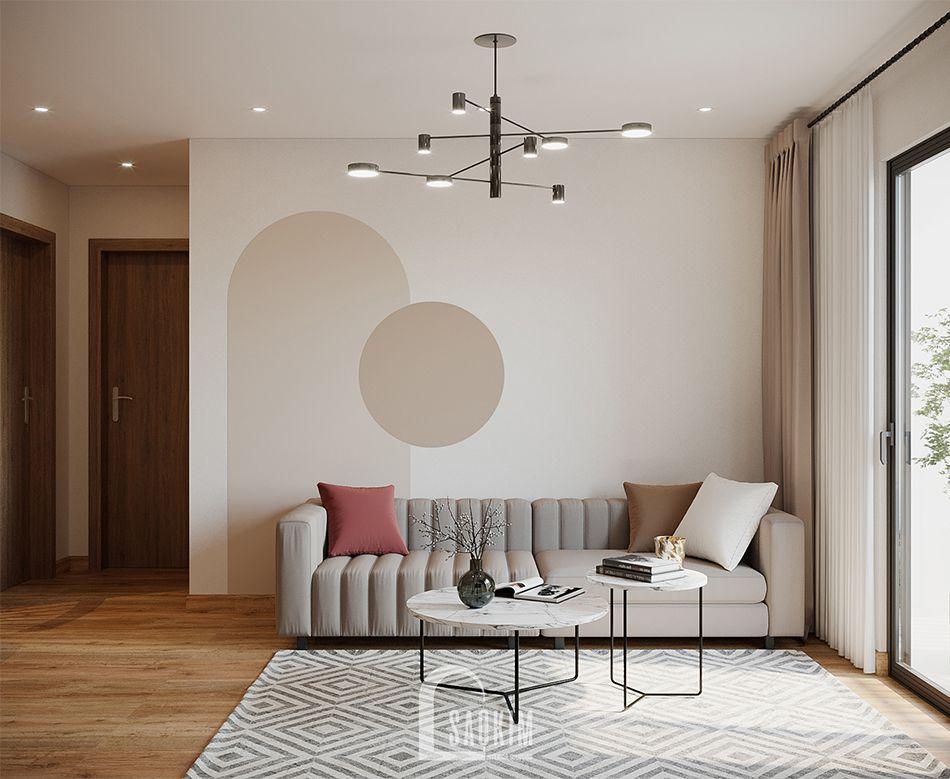 Mẫu thiết kế thi công căn hộ 84m2 chung cư Grand Sài Đồng với phòng khách rộng thoáng, tươi mới