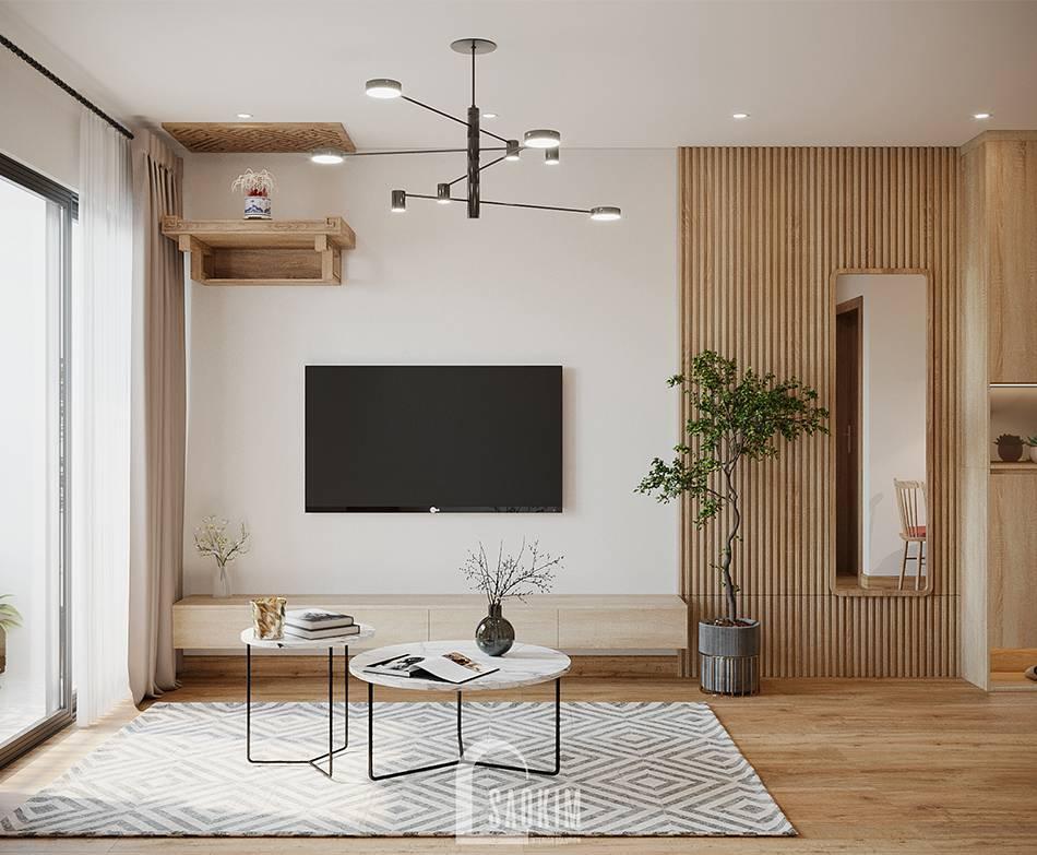 Mẫu thiết kế thi công phòng khách căn hộ 84m2 chung cư Grand Sài Đồng