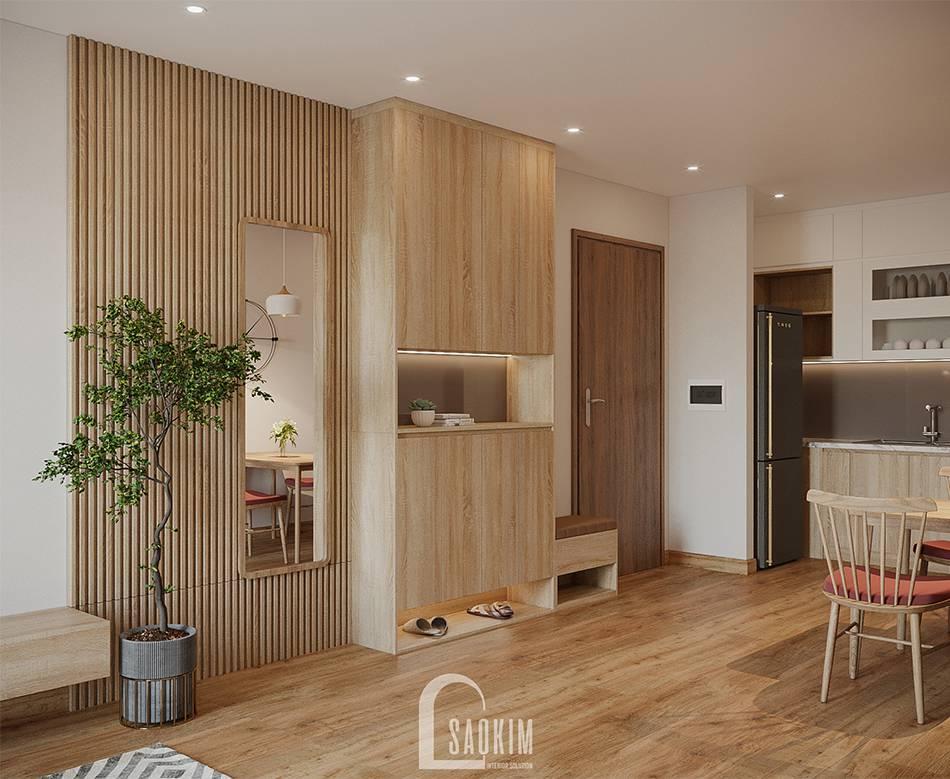 Không gian mở trong mẫu thiết kế thi công căn hộ 84m2 chung cư Grand Sài Đồng