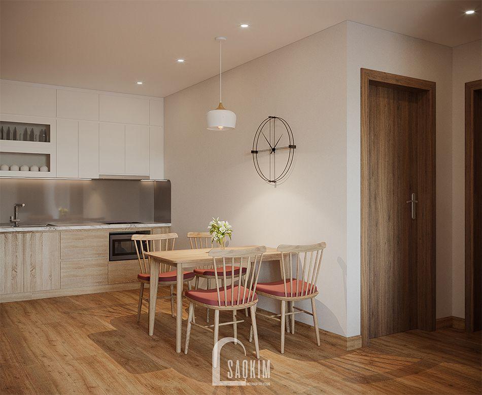 Không gian phòng ăn mẫu thiết kế thi công căn hộ 84m2 chung cư Grand Sài Đồng