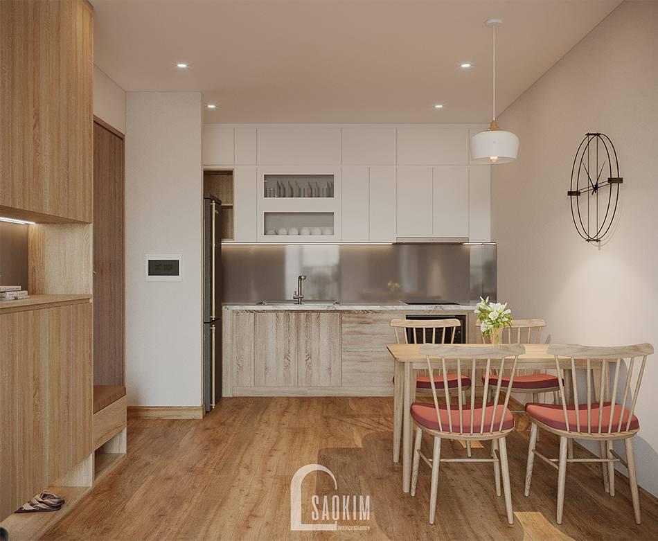Mẫu thiết kế thi công căn hộ 84m2 Grand Sài Đồng với phòng bếp tối giản, hiện đại