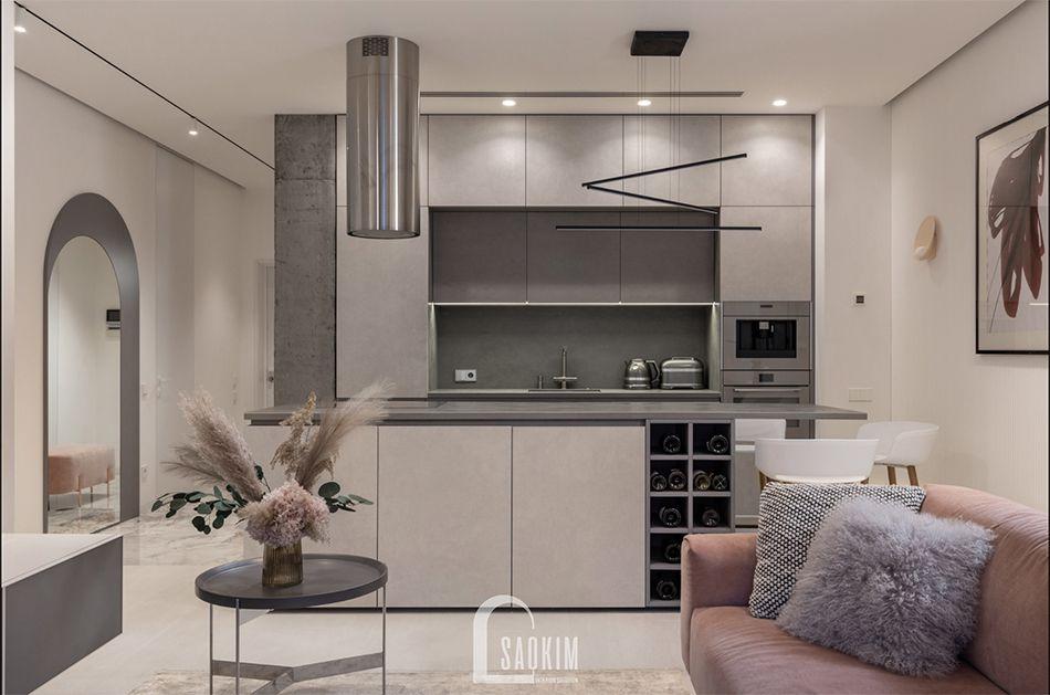 Mẫu thiết kế căn hộ 3 phòng ngủ chung cư The K Park với phòng bếp tinh tế, sang trọng