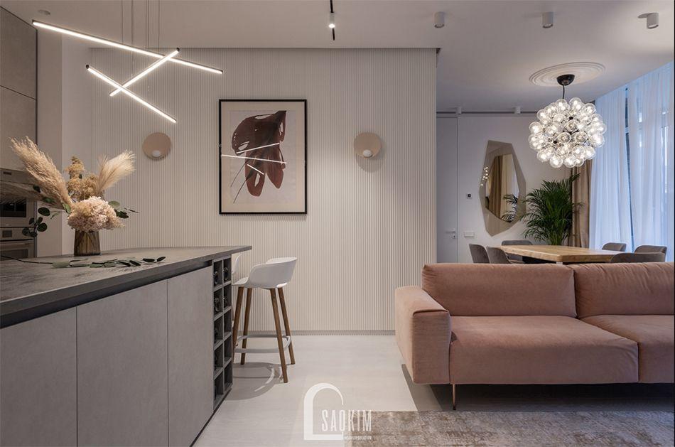 Không gian phòng khách nối liền với không gian phòng ăn và bếp rộng thoáng